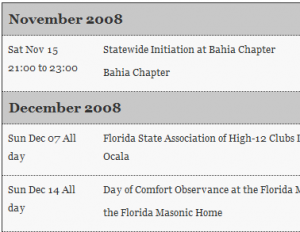 Florida Example of Ical Events