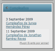 The widget in a spanish site