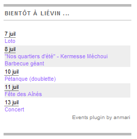Upcoming events with localised dates