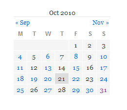 Small calendar in page