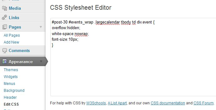 Css | amr's ical events