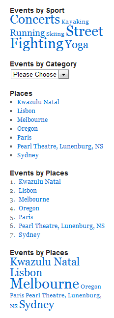 Screenshot of a variety of event taxonomy widgets
