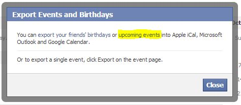 export facebook ics