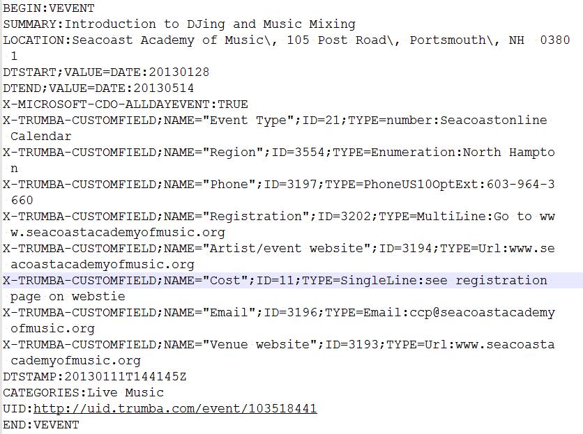 trumba ics file example