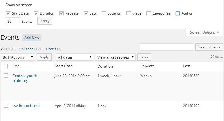 screenshot of show screen options in edit events