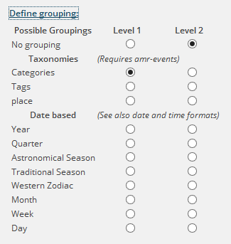 Grouping settings